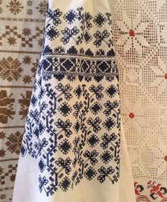 Embroidery pattern on the sleeve of a female shirt, Poltava region of Ukraine (central part of the country). The threads are dark-blue – it is a typical feature of this area of Ukraine. The threads were dyed with a help of indigo pigment or elderberry (rather widespread plant in Ukraine)
