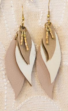 Leather Leaf Earrings - workofworth
