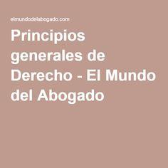 Principios generales de Derecho - El Mundo del Abogado