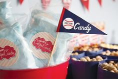 """This fantastic baseball birthday party features a """"snack bar"""" dessert table, pennant flag signage, """"Little Slugger"""" cupcakes, and more!"""