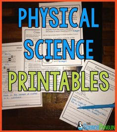 Physical Science Printables for matter, energy, forces, and more $-- great for quizzes or test prep!