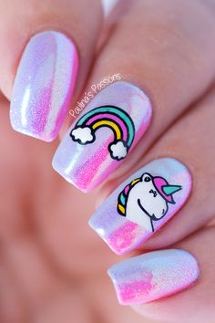 52 Ways and Decorations of Manicure - Nail Art Trendy Nail Art, Cute Nail Art, Cute Acrylic Nails, Cute Nails, My Nails, Fancy Nails, Unicorn Nails Designs, Unicorn Nail Art, Unicorn Hair