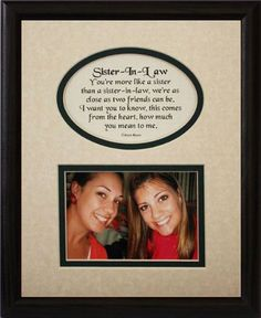 SISTERS Picture & Poetry Photo Gift Frame ~ Cream/Burgundy Mat with BLACK Frame ~ Heartfelt Keepsake Picture Frame for a Sister from a Sister ~ Gift Idea for a Birthday, Wedding or Christmas