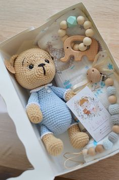 Excited to share this item from my shop: Caramel Knitted Teddy Bear In Blue Pajamas Teddy Amigurumi Crochet Hypoallergenic Home Decor Forest Animals Cute Teddy Bear Great Gift Baby Gift Hampers, Baby Gift Box, Baby Box, New Baby Gifts, Crochet Doll Tutorial, Crochet Dolls, Crochet Baby, Knitted Teddy Bear, Pregnancy Gifts