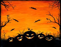 "Halloween art, ""Watchers in the Woods"" pumpkin digital art print, via Etsy......even though it's digitaL, you could totally paint this."