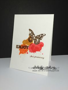 Simply One of a Kind: Splatters Butterfly Cards, Less Is More, Distress Ink, Give It To Me, Place Card Holders, Butterflies, Simple, Greeting Cards, Inspire