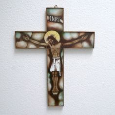 XL Art Deco Crucifix Cross H46cm, Stained Opaline Glass Van Paridon Artisan Handcrafted INRI Jesus Christ Christian Catholic Wall Decor Catholic Art, Religious Art, Glass Artwork, Wall Crosses, Spiritual Gifts, Opaline, Art Deco Design, Crucifix, Jesus Christ