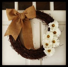 """$10 DIY wreath. Adorable for Fall! And to add a """"G"""" for greatness until Josh puts a ring on it! lol"""
