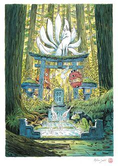 Japanese Mythology, Japanese Folklore, Japon Illustration, Watercolor Illustration, Japanese Yokai, Kami Japanese, Japanese Dragon, Konosuba Wallpaper, Style Asiatique