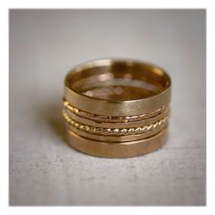 Super stack of solid 14k gold rings from Praxis Jewelry