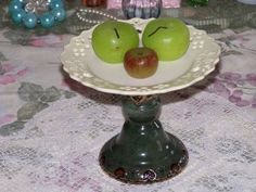 Yellow Cupcake Plate Green Pedestal Stand Candle Holder  http://lilacsndreams.ecrater.com/p/15661860/yellow-cupcake-plate-green-pedestal#