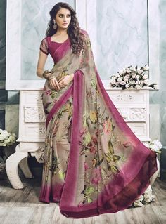 Beige Georgette Printed Saree With Blouse 85034