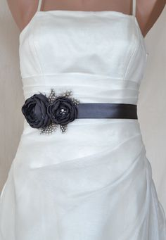 Handcraft Charcoal Grey Two Flowers With Feathers Wedding Bridal Sash Belt on Etsy, $39.50