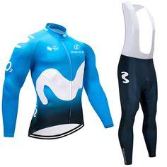 2018 Team Movistar Pro Long Sleeve Cycling Kits Blue | Freestylecycling.com