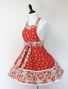 Vintage Aprons For Women | Sweetheart Retro Apron/Cute Women's Floral Apron in by KatesCotton, $ ...