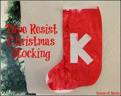 Tape Resist Christmas Stocking - House of Burke