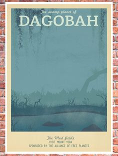 Retro Travel Poster Star Wars Dagobah MANY by TeacupPiranha