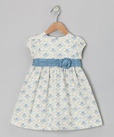 Take a look at this Off-White & Blue Rose Floral Dress - Infant & Toddler by Les Petits Soleils on #zulily today!