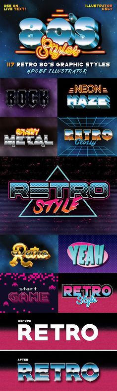 117 Retro Text Styles for Photoshop by designdell Web Design, Retro Design, Logo Design, Vaporwave, Typography Design, Lettering, Typography Fonts, Arcade, 80s Logo