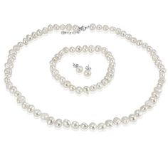 $14.99 - 8mm Freshwater Pearl Set With Necklace, Bracelet & Earrings