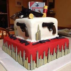 Gun cake for Birthday. Kim going to need something like this for Jerry's in October Gun Cakes, Man Birthday, Birthday Cakes, Birthday Ideas, Happy Birthday, Cakes For Boys, Cupcake Cookies, Party Cakes, Amazing Cakes