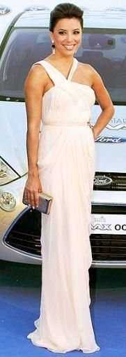 Who made Eva Longoria's jewelry and white gown that she wore in Marbella? Dress – J Mendel  Earrings – Irene Neuwirth