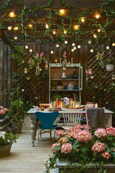 Rustic #pergola and string #lights #backyard ideas