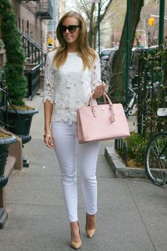 White On WhiteWearing White on White: Floral Top (under $20!)  |  Jeans  |  Tory Burch Robinson Bag (also in a mini version and a rounded version)  |  Prada Sunglasses  |  Heels  |  X Ring  |  Gold BanglesFashion By Style Elixir