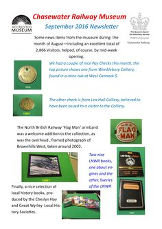 Chasewater Railway Museum September Newsletter Save Save Save