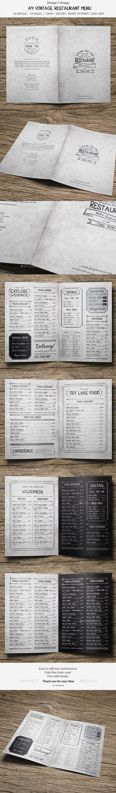 10 Pages A4 BiFold Vintage Menu Template PSD. Download here: http://graphicriver.net/item/a4-bifold-vintage-menu-10-pages/15585650?ref=ksioks