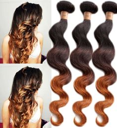 New Brazilian Ombre Body Wave Human Hair Extensions 1B/4/28# Remy Hair Wefts #WIGISS #HairExtension