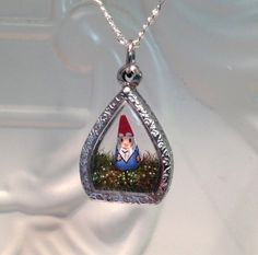 FYI PERFECT MOTHERS DAY GIFT FOR ME! Garden Gnome Terrarium Pendant  red hat blue shirt by WorkofWhimsy, $50.00