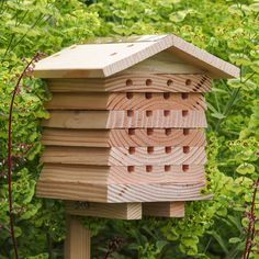 Attract safe, non-swarming bees This unique Solitary Bee House is designed specifically to attract non-swarming, friendly bees that are industrious and safe around children and pets. Not only fascinating to watch, bees are always a friend to the gardener, as they are pollinators of flowers, fruit, and vegetables. The hole sizes of this Bee House are precisely sized to attract bees like the Red Mason Bee, Leafcutter Bee, and other solitary bees. Bee House is constructed of durable Forest…