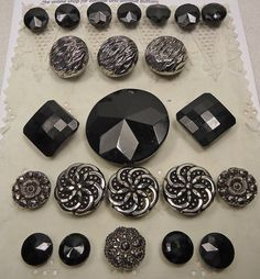 Vintage black glass button selection  by vintagebuttonemporiu