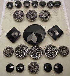 Vintage black glass button selection by vintagebuttonemporiu