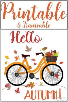 Pop over and grab your free printable fall leaves and bike. Notice the clothespin holding a leaf like we did with a card! Lol! | Country Design Style | countrydesignstyle.com