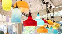 אהילים מזכוכית צבעונית colored glass lamps TURKIZHOUSE Bnei Dror