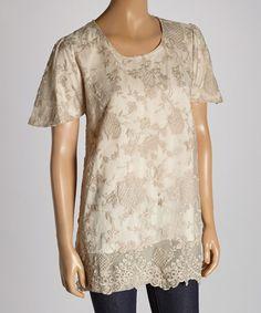 Love this Caramel Crochet Linen-Blend Blouse by Pretty Angel on #zulily! #zulilyfinds