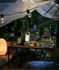 a table set up for an indoor picnic with a glass beverage dispenser, glasses and a lantern. The table is under a fabric tent and a string of lights and surrounded by potted plants Indoor Outdoor, Indoor Picnic, Outdoor Living, Outdoor Lamps, Ikea Outdoor, Table Set Up, Table And Chairs, A Table