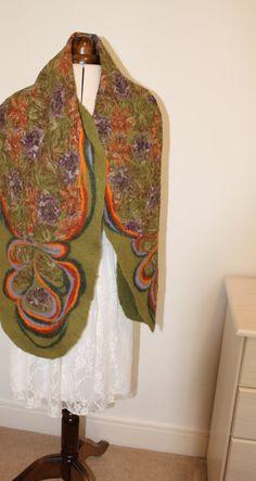 Olive green nuno felt scarf / wrap by LidiaFeltBoutique