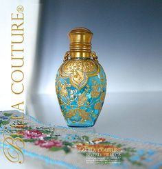 Gorgeous Antique Victorian French Moser Turquoise Blue Hand Painted Enameled Art Glass Chatelaine Perfume Scent Bottle