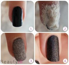 DIY Nail Art After you have made your base coat paint your nails in the color you want. Then let some flour on your nail and press it gently. Tap/blow it there then carefully and leave it to dry Now apply a layer of nail polish of your choice. Love Nails, How To Do Nails, Pretty Nails, Nail Art Diy, Diy Nails, Matte Nails, Black Nails, Glitter Nails, Do It Yourself Nails