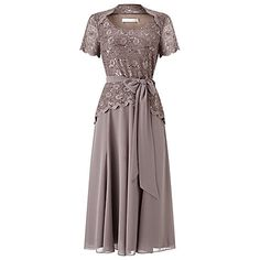 Buy Jacques Vert Lace Bodice Chiffon Dress, Brown Online at johnlewis.com