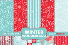 Digital Papers Winter Wonderland Patterns By Sonya DeHart Design