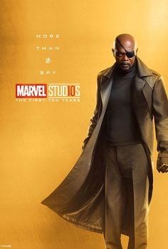 Marvel Celebrates 10 Years of the MCU With Timeline, Contest, and a TON of Posters Marvel Studios More Than A Hero Poster Series Nick Fury Captain Marvel, Ms Marvel, Marvel Dc Comics, Heroes Dc Comics, Bd Comics, Marvel Heroes, Captain America, Nick Fury Marvel, Poster Marvel
