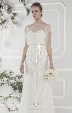 #Ellis2015 Style 15160 'Delicately Sequinned 1920's Style Tulle Dress with Softly Draped Sleeves and Satin Tie Belt'