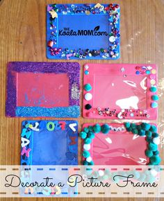 Decorate a picture frame with beads, glitter, pom poms, etc. for a fun and easy (but possibly messy!) craft for kids of almost any age. Family Picture Frames, Painted Picture Frames, Friends Picture Frame, Decorate Picture Frames, Mom Picture, Projects For Kids, Diy For Kids, Crafts For Kids, Picture Frame Crafts