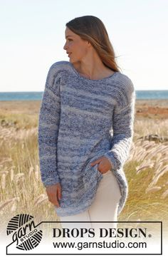 """Free pattern: Knitted DROPS jumper in garter st with dropped sts in """"Kid-Silk"""" and """"Baby Alpaca Silk"""". Size S - XXXL ~ #DROPSDesign #Garnstudio"""