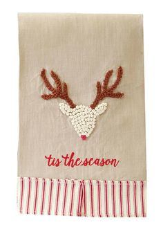 "Linen hand towel trimmed with red ticking box pleated hem feature french knot reindeer.  and ""tis the season"".    Size: hand towel 21"" x 14"" 