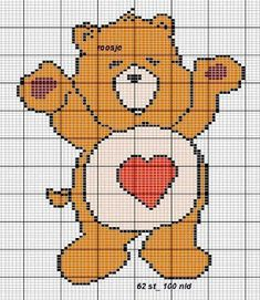 Care Bears x-stitch Teddy Bear Patterns Free, Crochet Teddy Bear Pattern, Baby Afghan Crochet, Beaded Cross Stitch, Cross Stitch Embroidery, Cross Stitch Patterns, Pixel Crochet, Crochet Chart, Cross Stitch For Kids